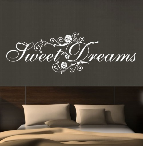 wandtattoo sweet dreams wandsticker schlafzimmer s e tr ume wandtatoo sp2034 ebay. Black Bedroom Furniture Sets. Home Design Ideas